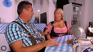Busty German mature mom pleasing lucky dad