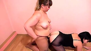 BBW lesbian asstonguing her acquaintance and fuck her in the ass strapon.