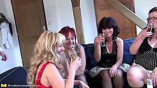 Mature fuck-a-thon private soiree with moms and son-in-law