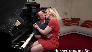 Granny piano teacher riding dick