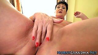 Horny gilf rides dick