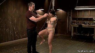 Japanese slave hunged on hogtie