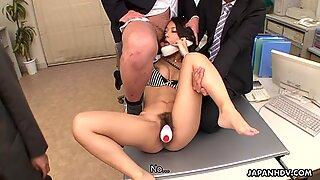 Asian slut gets three dudes to pleasure her cunt