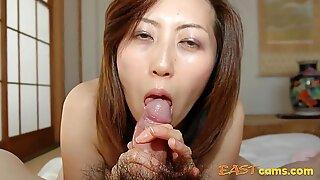 Japanese MILF Licks and Sucks Cock