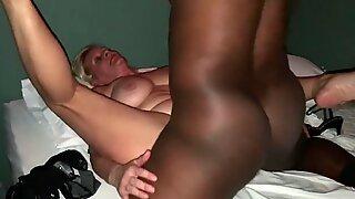 Filming Mature mummy at Swingers Club with random big black cock Bull feet Curling & Qu